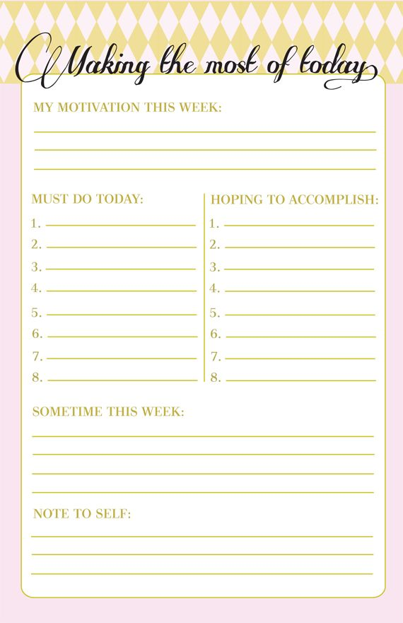 Free Printable Making The Most Of Today List  Work