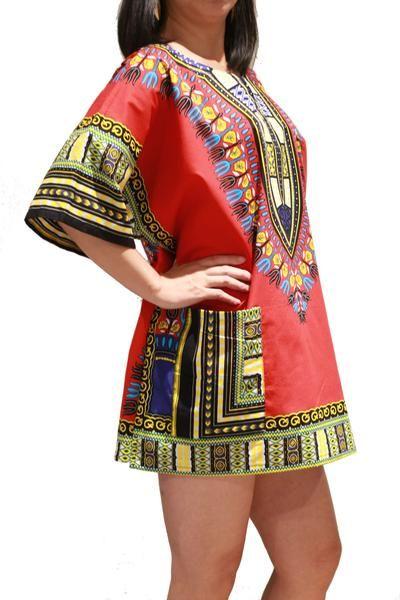PRE-ORDER Black/Red Dashiki African Print Unisex UNluZ