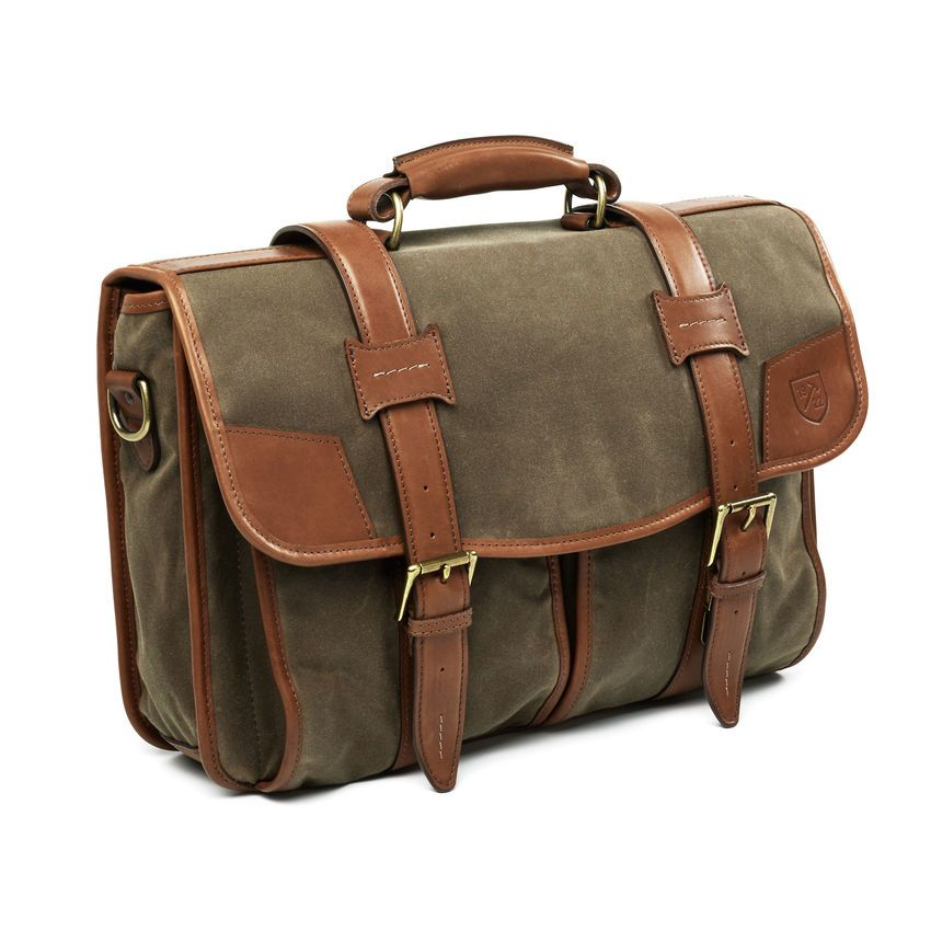 aa7ab2131d Canvas   Leather Collection - Double Flap Briefcase by Allen Edmonds ...