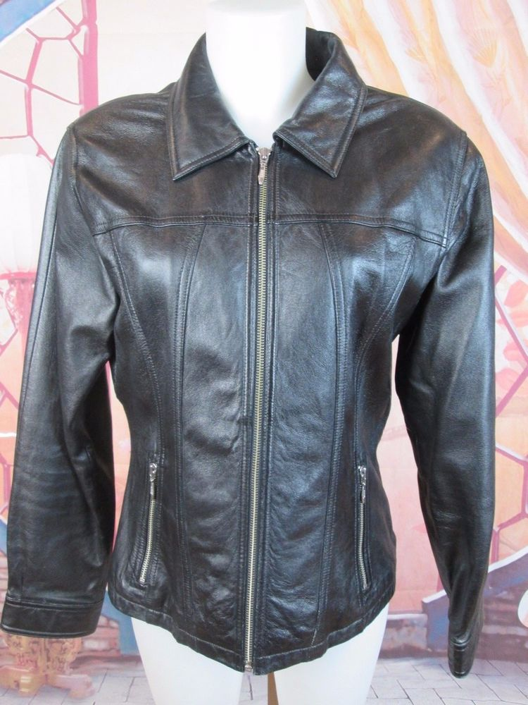 5a8822202 Wilson's Vintage Maxima Black Leather Jacket Women's Coat Size M ...
