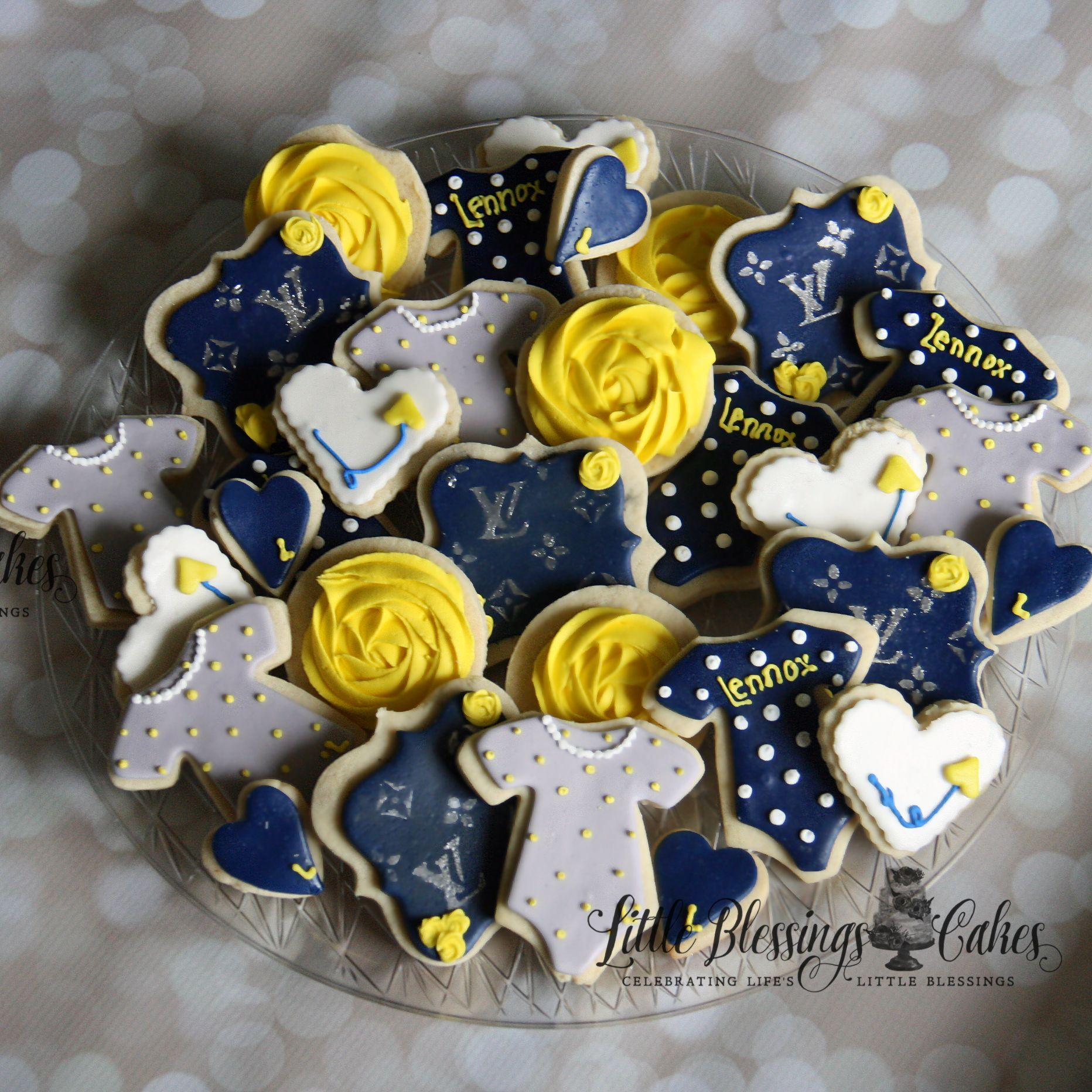 Gourmet couture designer baby shower cookies. Yellow and Navy LV DFW DALLAS FORT WORTH CAKES