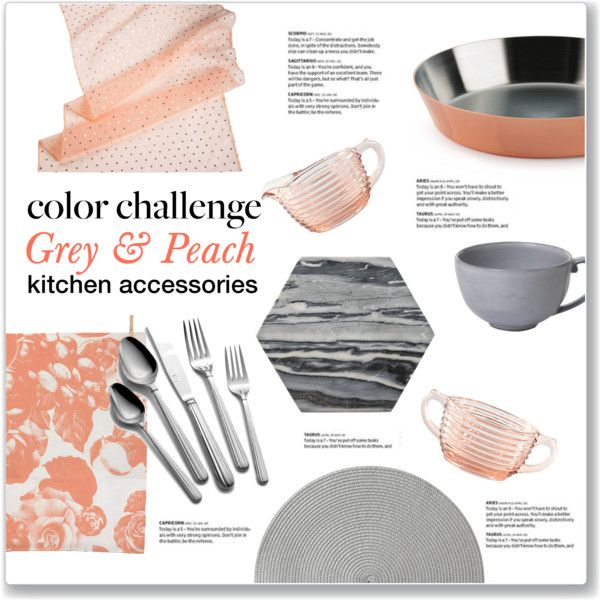 Beau Color Challenge: Grey U0026 Peach Kitchen Accessories By Kellylynne68 On  Polyvore Featuring Interior, Interiors