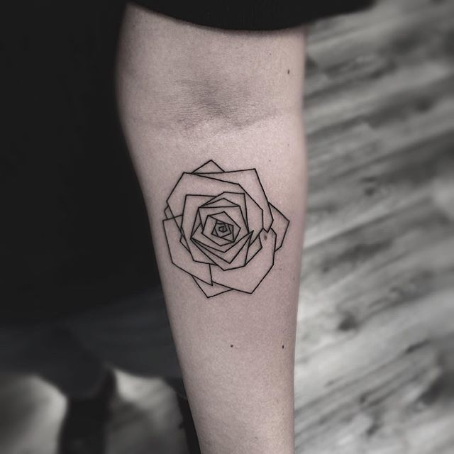 Ben noto lines, linear tattoo, tatuaggio linee,minimal tattoo, rose tattoo  FQ76