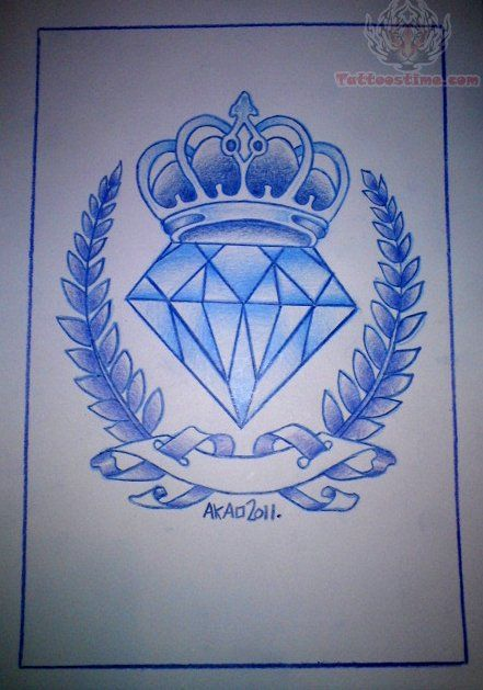Blue Ink Outline Diamond Tattoo Design | Tattoos ...