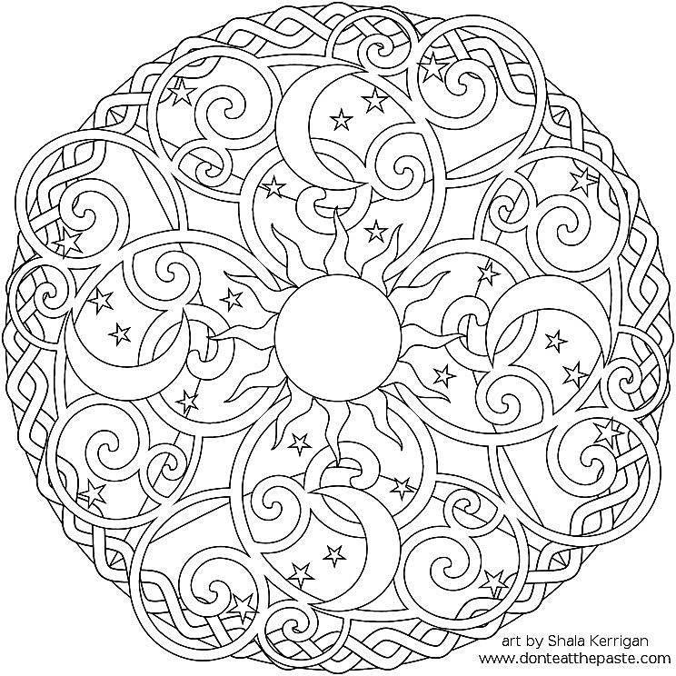 A sun, moon, and stars mandala coloring sheet. #coloringsheets
