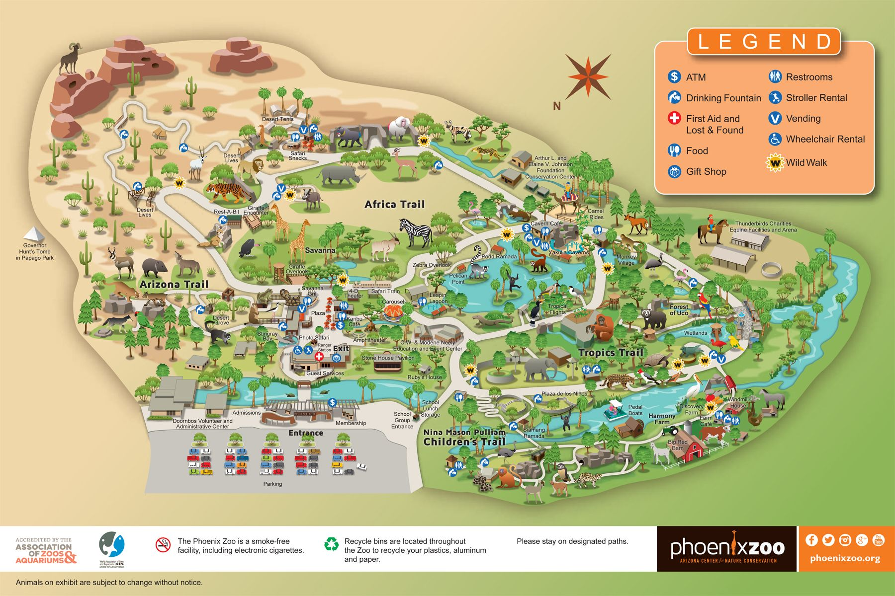 Phoenix Zoo Map  Phoenix Vacation  Pinterest  Zoos And