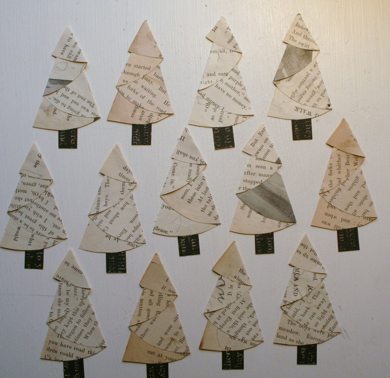 vintage paper christmas trees made from half circle card stock trunk
