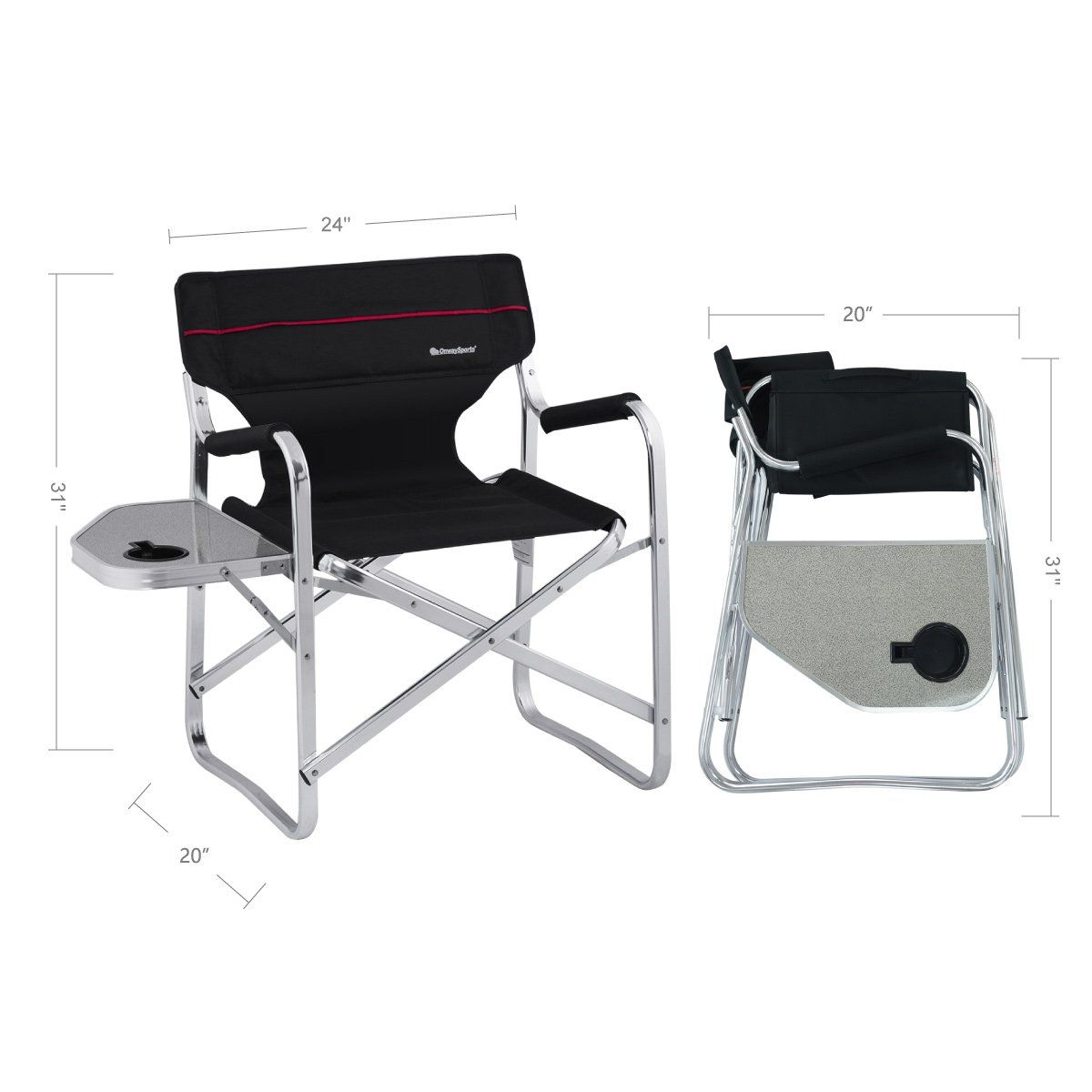 2 x 2000020295 2-Pack Swivel Table and Drink Holder Coleman Aluminum Chairs