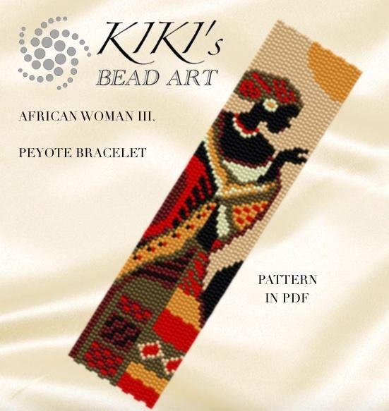 Peyote pattern for bracelet - Africa - African woman III. peyote ...