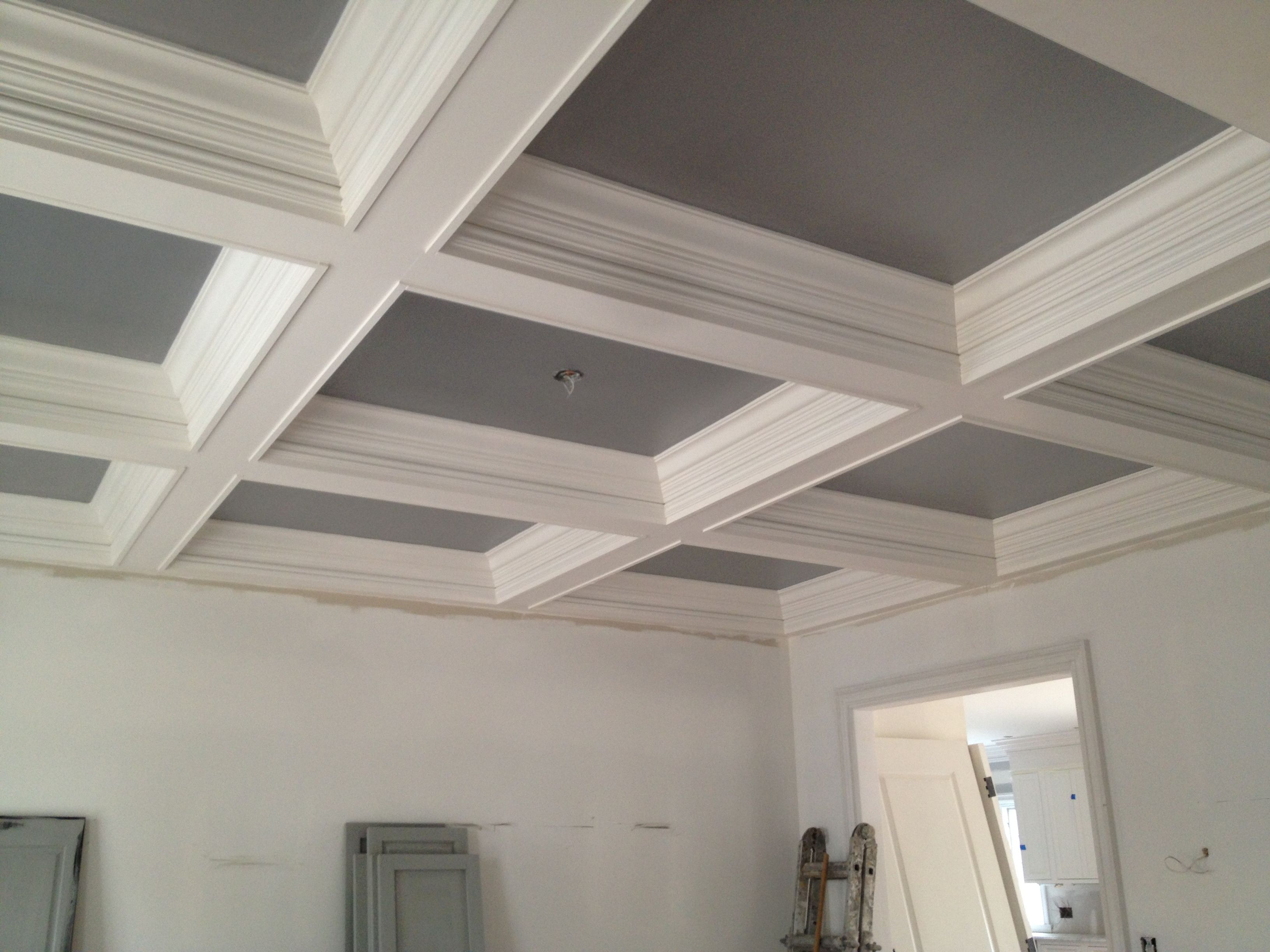 Matching Gray Coffered Ceilings In The Music Room And Library Will Have Oversized Antique