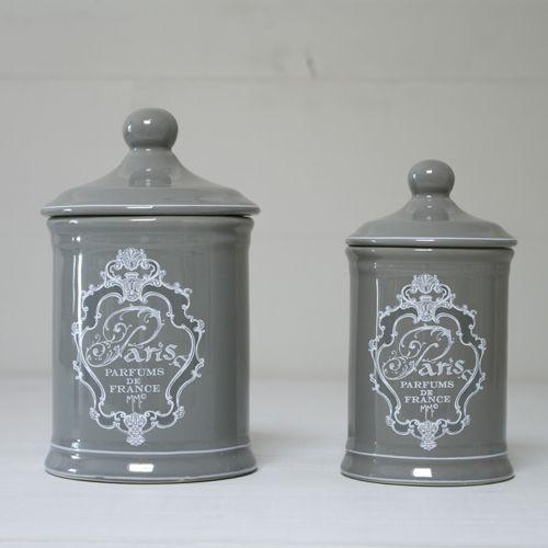 2 Pots à Coton Déco Grise Objets de Salle de Bain Mathilde M Idées