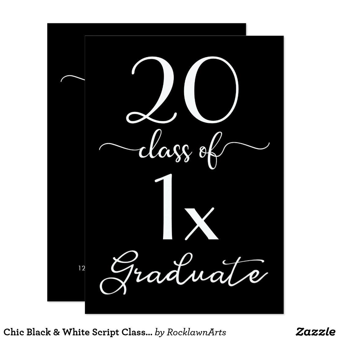 Chic black white script class of 2018 graduation card graduation chic black white script class of 2018 graduation card send out filmwisefo