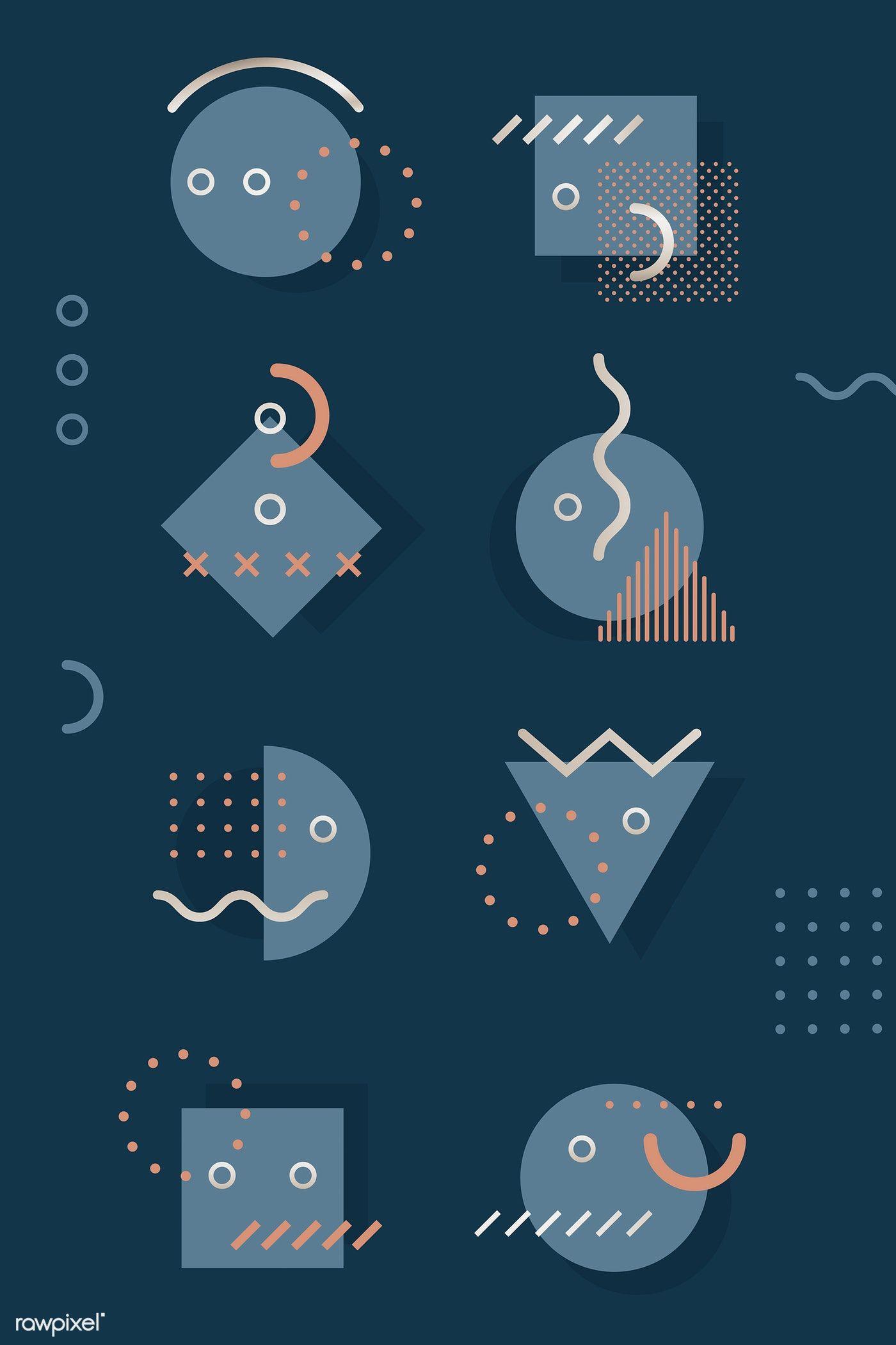 Download premium vector of Dark blue tone Memphis design element pack