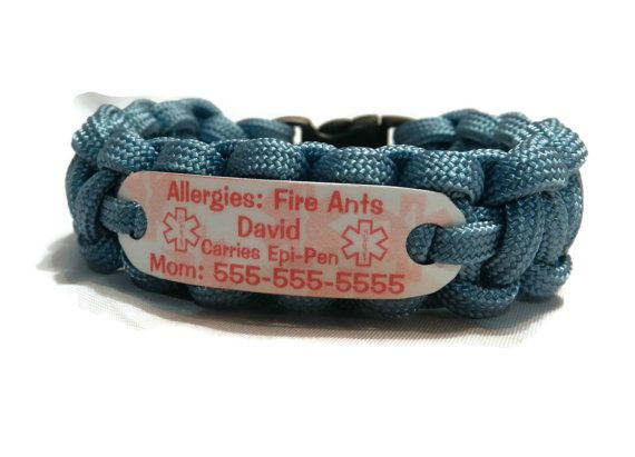 Fire Ant Allergy Bracelet Waterproof Medical Alert Jewelry Paracord Id For Children