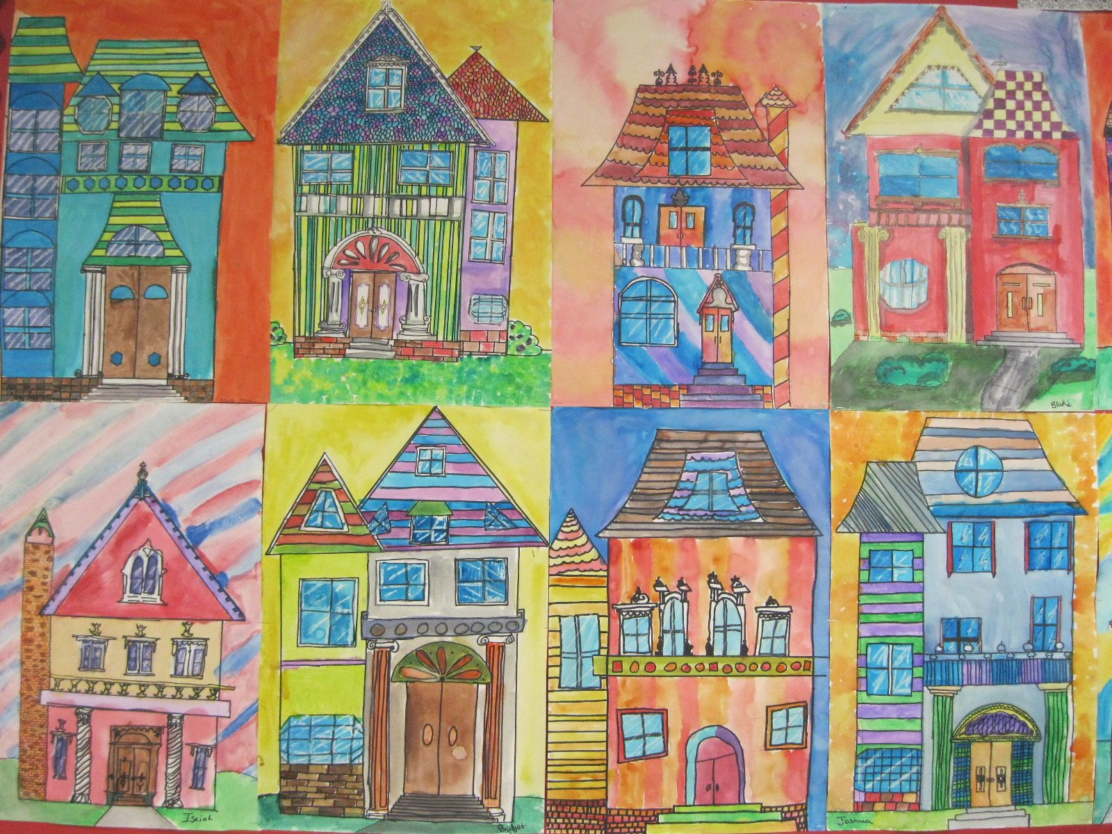Victorian Homes Art Lesson 4th Graders Geometric Shapes