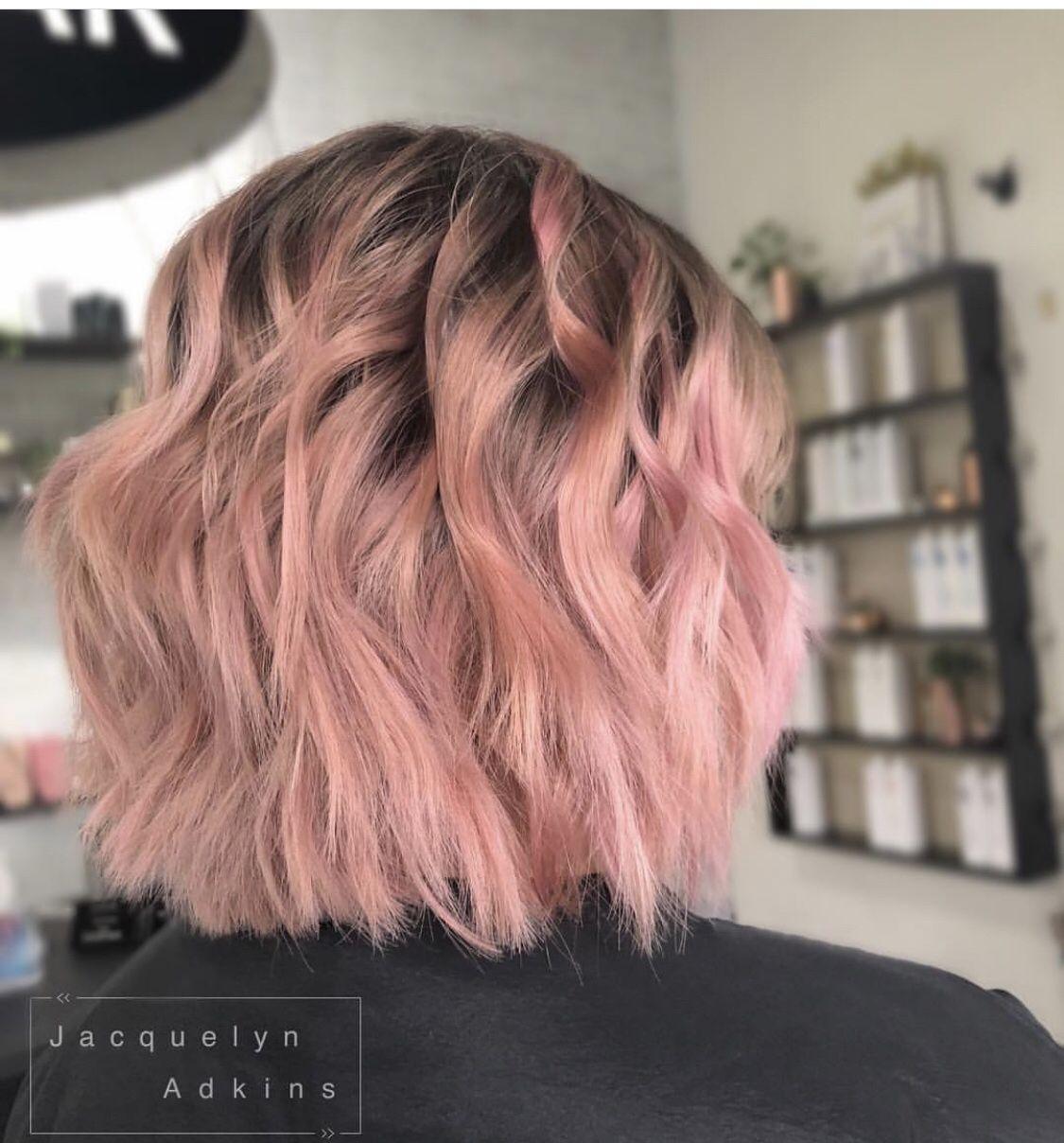 Follow Me On Instagram Unevneib Dark Root Pink Ends Hair Short Hair Rose Hair Rose Gold Wavy Hair Wand Curls Pink Short Hair Light Pink Hair Short Hair Styles