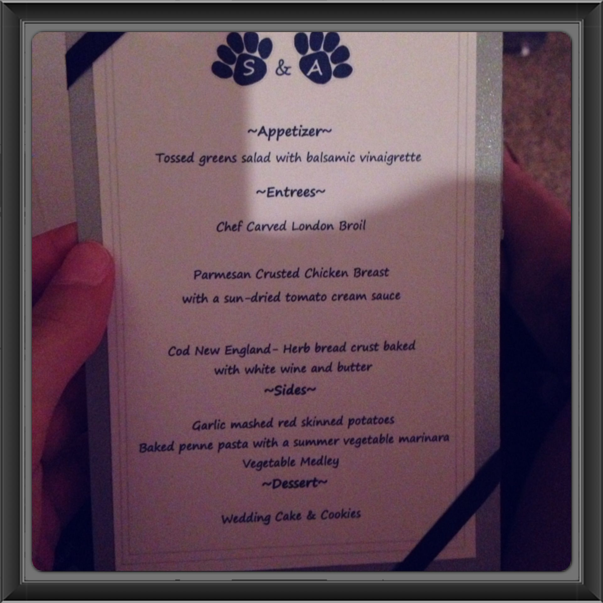 Menus handmade by our cousin penn state paw prints with our menus handmade by our cousin penn state paw prints with our initials on 1betcityfo Choice Image