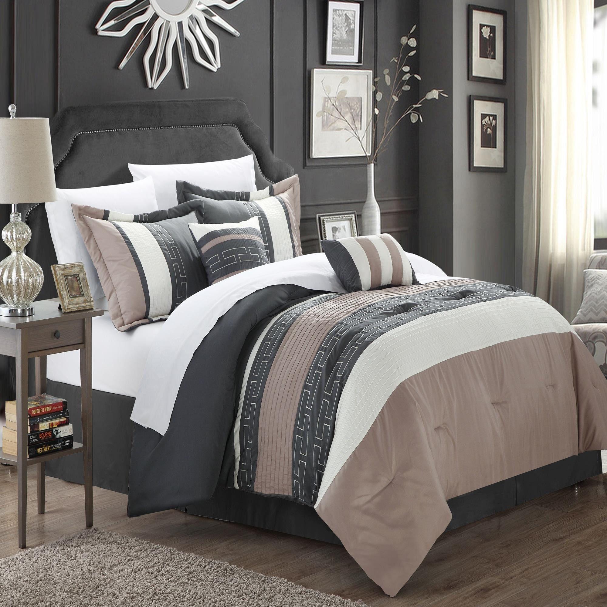 Carlton Taupe Grey Tan 6 Piece Comforter Bed In A Bag Set