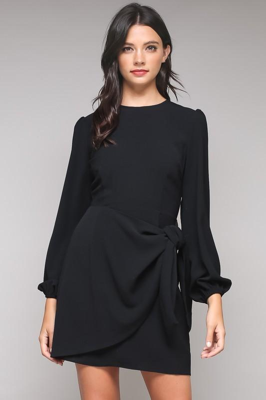 Black Tied Waist Long Sleeve Dress In 2018 Products Pinterest