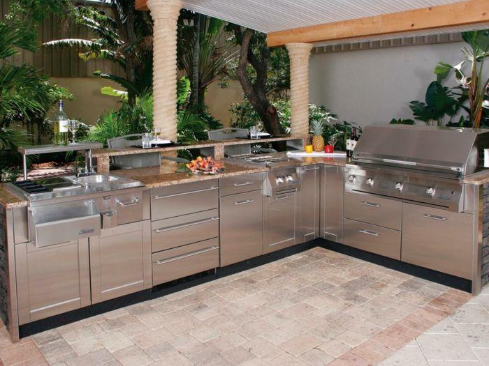 außenküche selber bauen bestellen metallene fronten eingebaute ...