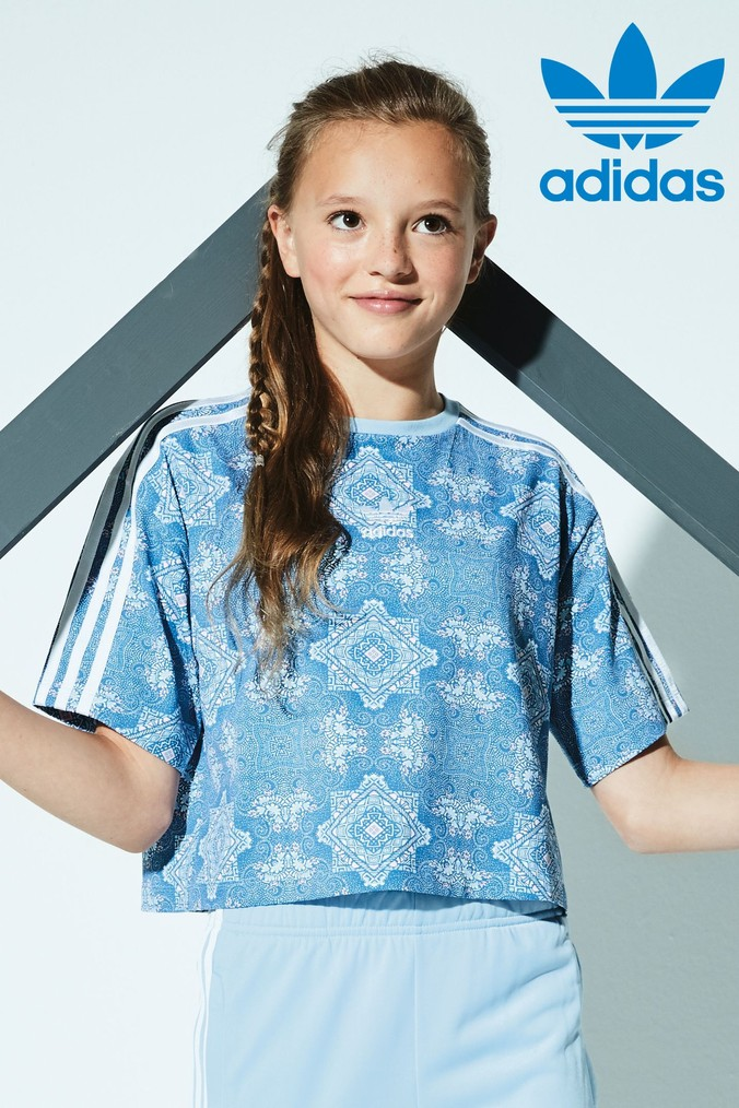 Girls adidas Originals Printed Blue Trefoil Crop Top Blue