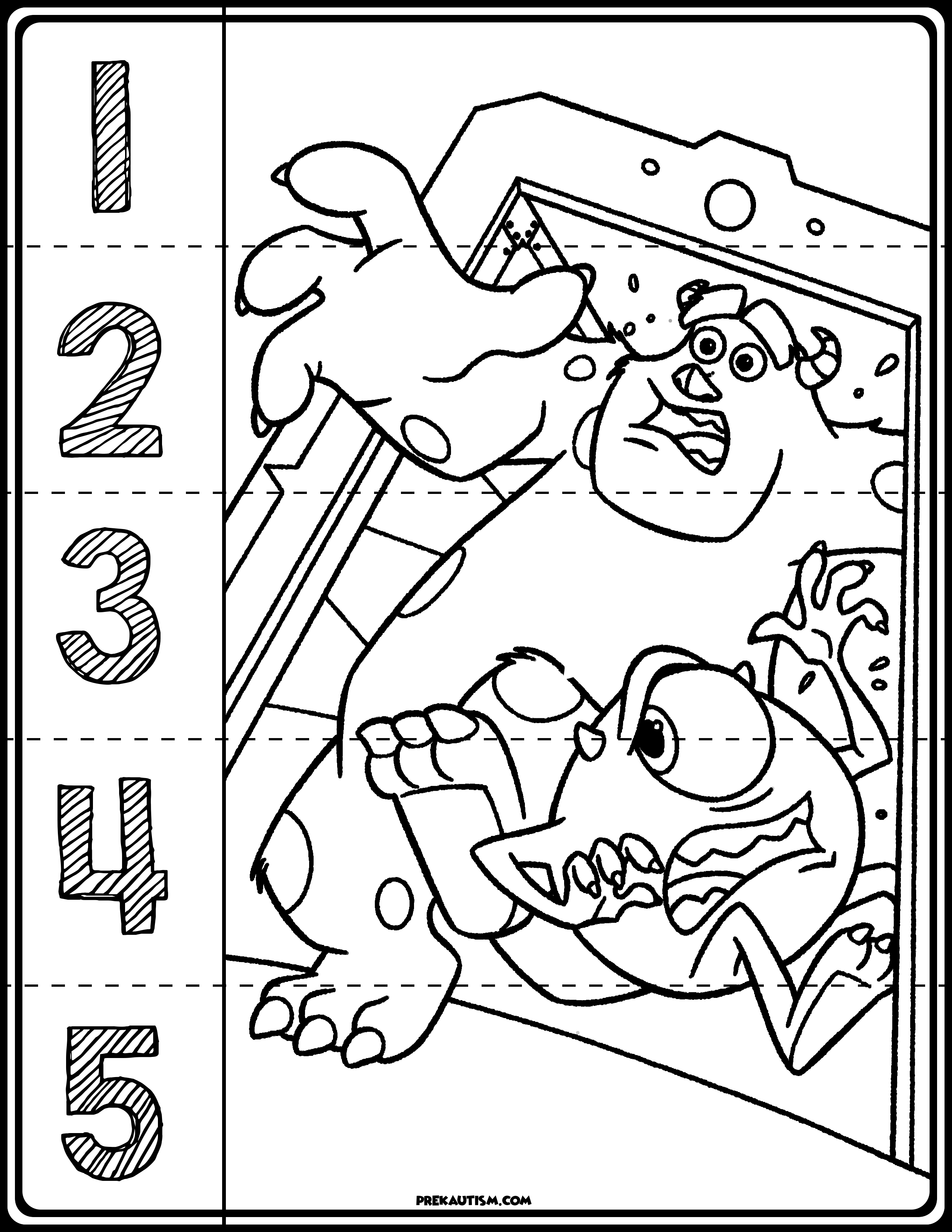 Monster Inc Number Puzzles Number Puzzles Monsters Inc Autism Activities