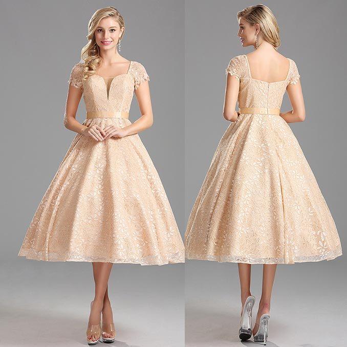 Rochii De Ocazie De Zi Vintage Crem Dantela Rochii Prom Dresses