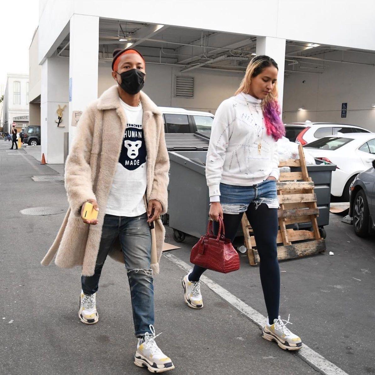 49d3791f6 Pharrell   Helen Balenciaga Triple S Sneakers Fashion Outfits