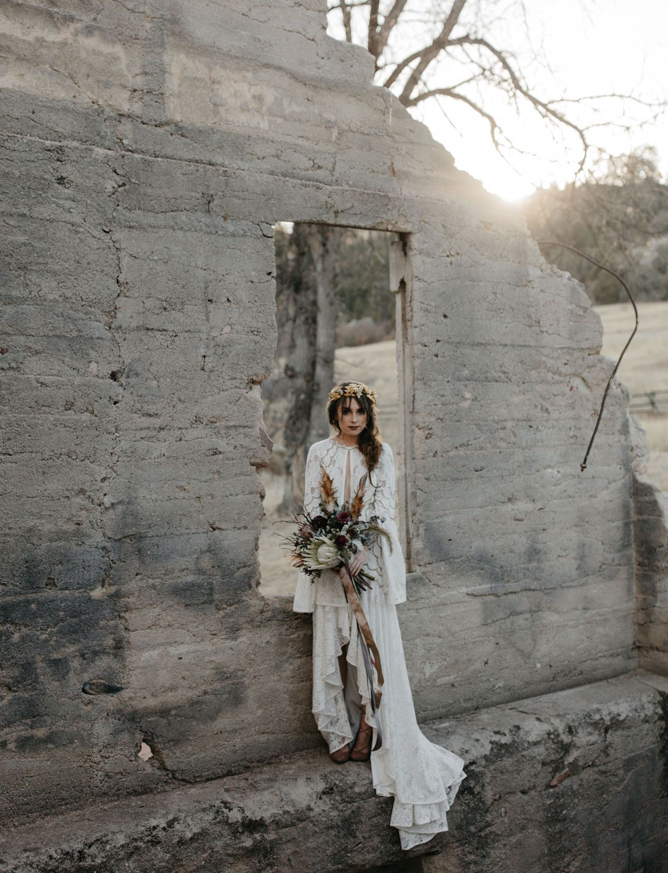 A moody elopement among the castlewood ruins wedding shoes