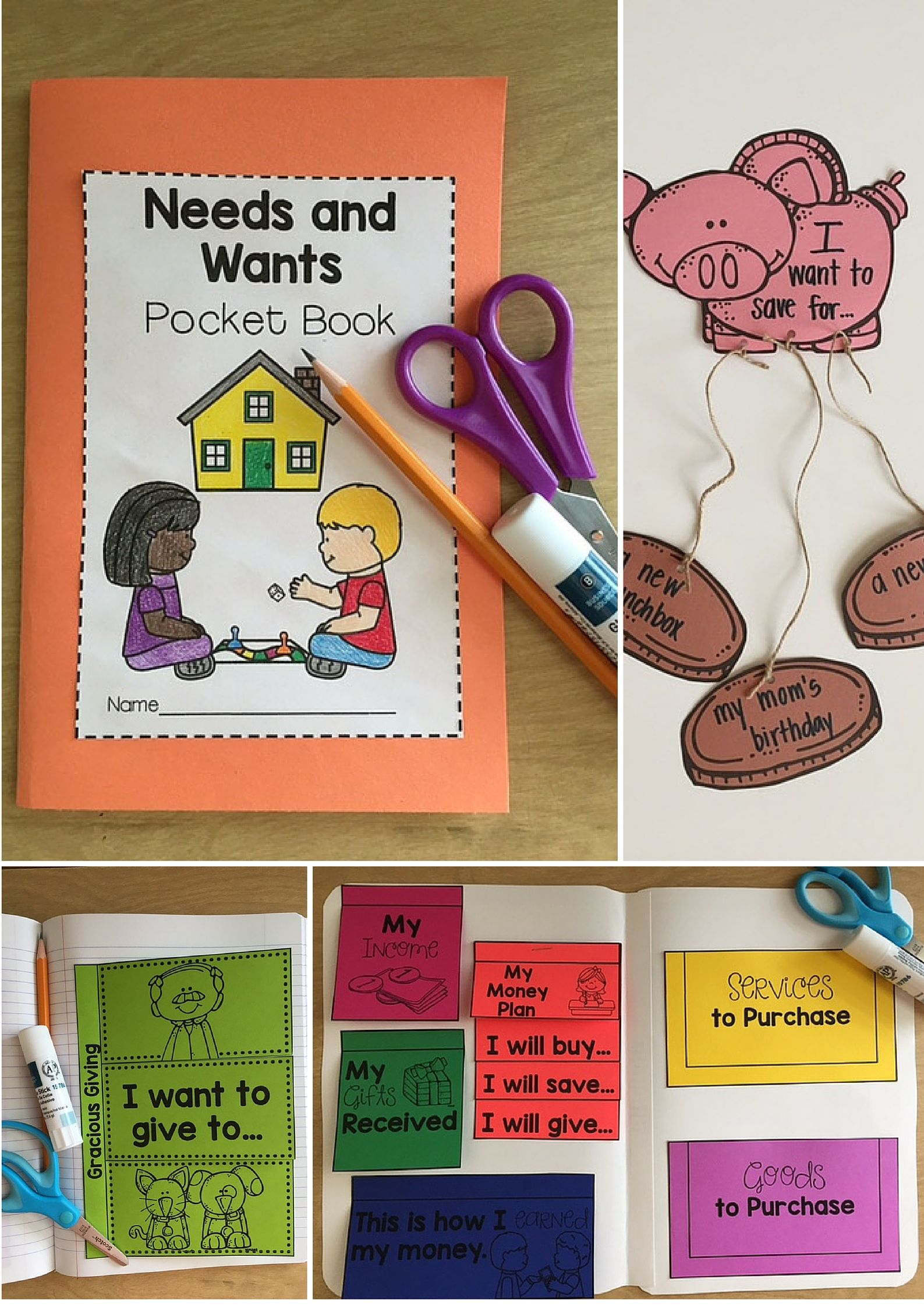 Personal Financial Literacy A Unit For Needs And Wants Amp Spending And Saving