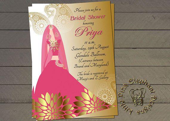 Indian Bridal Shower Invitation Bollywood Invites Printable Diy Wedding Invitat
