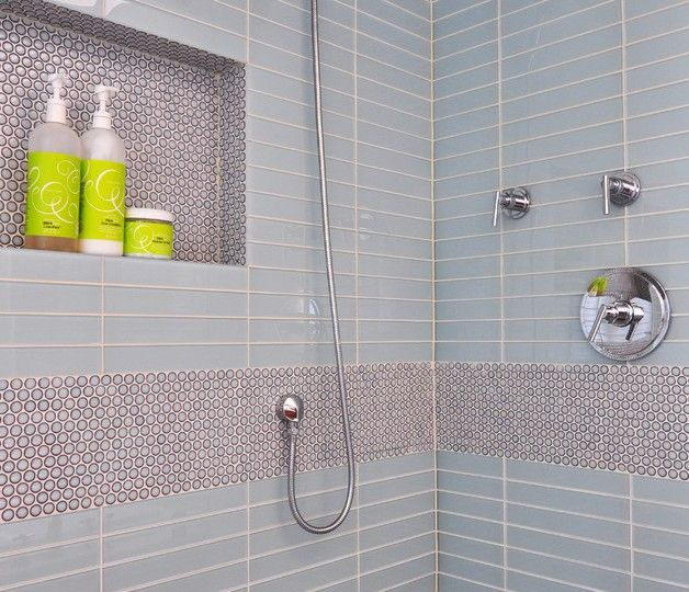 Bright Penny Round Tile Trend Chicago Contemporary Bathroom Decorating Ideas With Ann Sacks Cabinetry Blue Gl