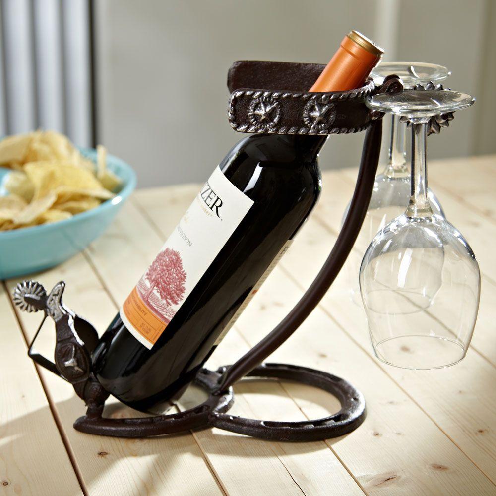 Wood Whisky Bottle Holder Ideas: Horseshoes And Spurs Wine Bottle Holder Also Holds Two