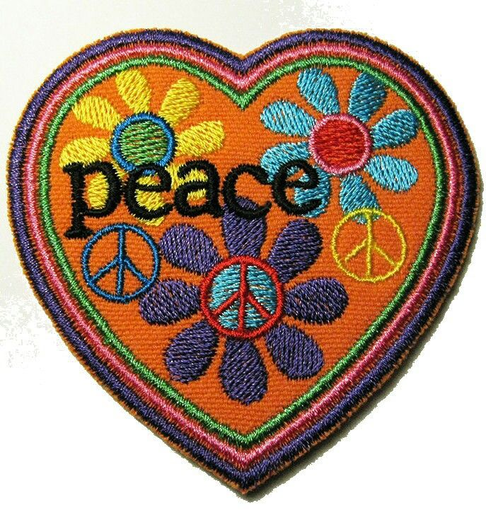 Orange Peace Sign Round Patch Embroidered Iron On Sew On