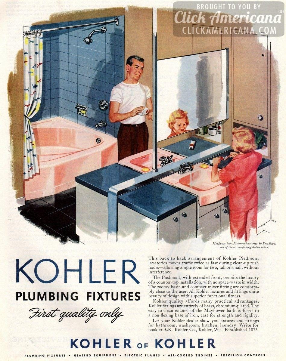 Kohler bathroom plumbing fixtures in Peachblow pink (1957 | Kohler ...
