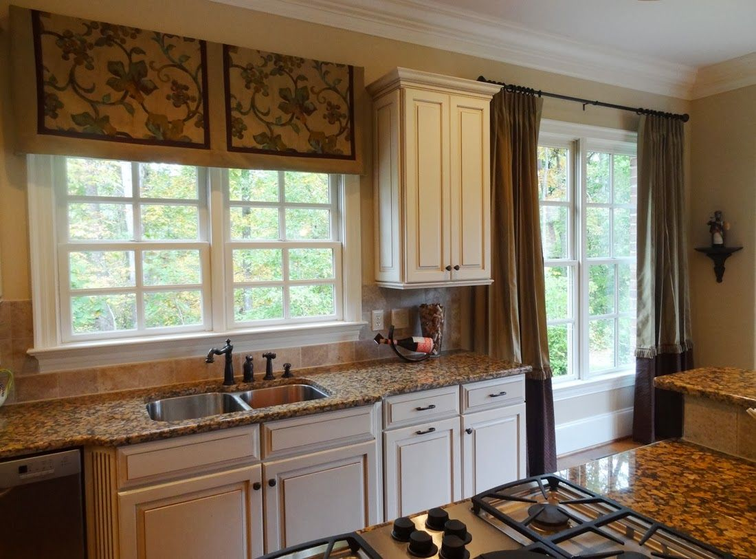 Modern Kitchen Curtains And Window Treatments Ideas With Gas Stove And  Double Sink. Kitchen,
