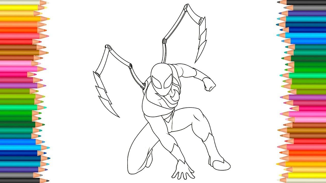 Coloring page iron spider l spider man ultimate coloring marvel video fo