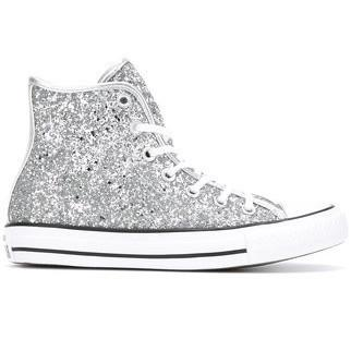 cd4c4e8cfcfb08 Women s Sparkly Glitter Converse All Stars Silver Sterling Bling High Top  Wedding Bride Shoes