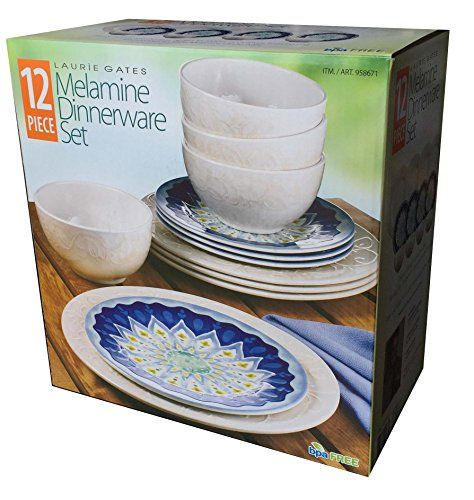 Laurie Gates - 12 Piece Melamine Dinnerware Set (Blue \u0026 White) Laurie Gates   sc 1 st  Pinterest & Laurie Gates - 12 Piece Melamine Dinnerware Set (Blue \u0026 White ...