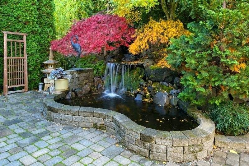Small Landscape Waterfall Home Garden Waterfall Pond With Brick Stone And  Trees In Fall Season Colors Small Pond Waterfalls Pictures