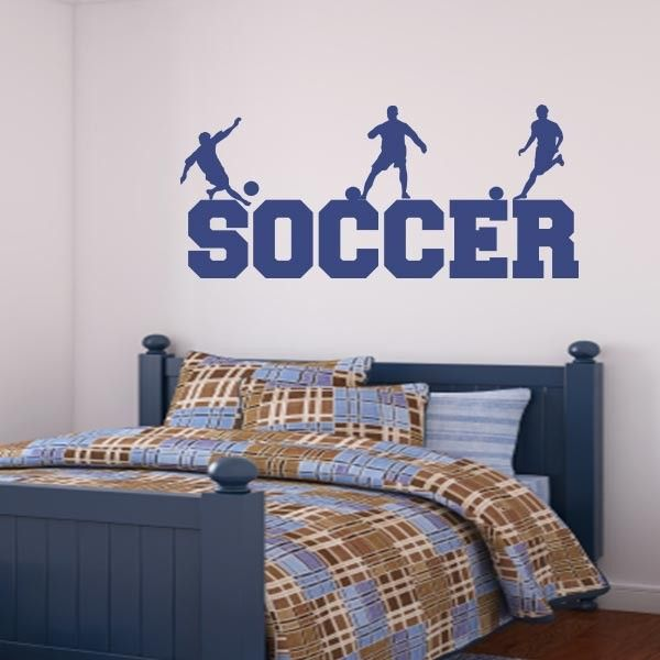 Soccer Word Art Wall Decal Sports Wall Decals Kids Room Wall Stickers Wall Decals