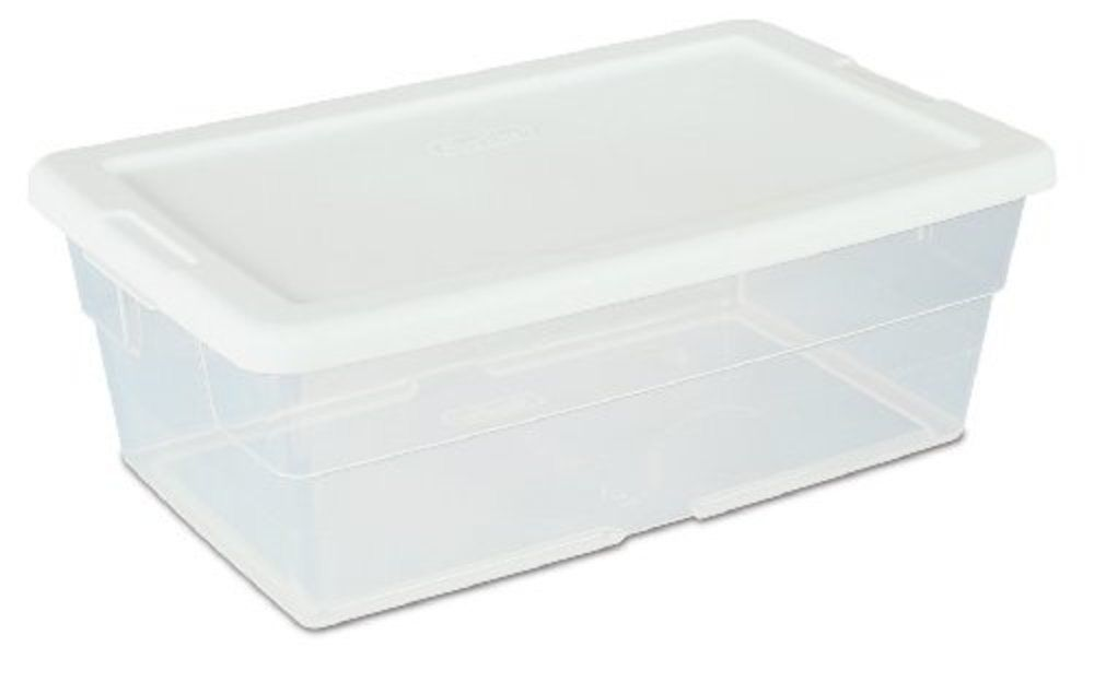 Sterilite Storage Containers Box Clear White Lid 6 Quart 12 Pack Home Organizer Sterilite Plastic Storage Bins Storage Bins With Lids Sterilite