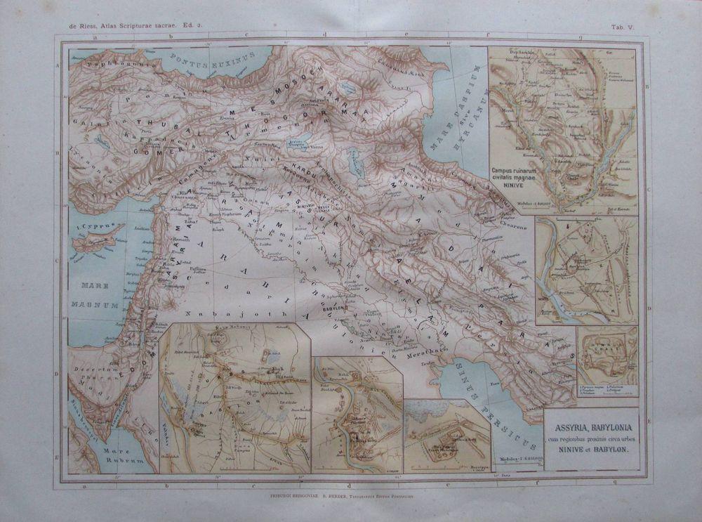 Afrika Fluß /& Gebirge Karte Lithographie 1893 alte historische Landkarte