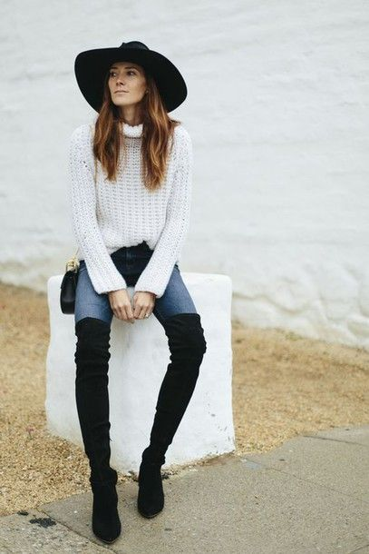 932155b3b8a5 sweater tumblr white sweater turtleneck turtleneck sweater denim jeans blue  jeans boots pointed boots black boots over the knee boots thigh high boots  bag ...