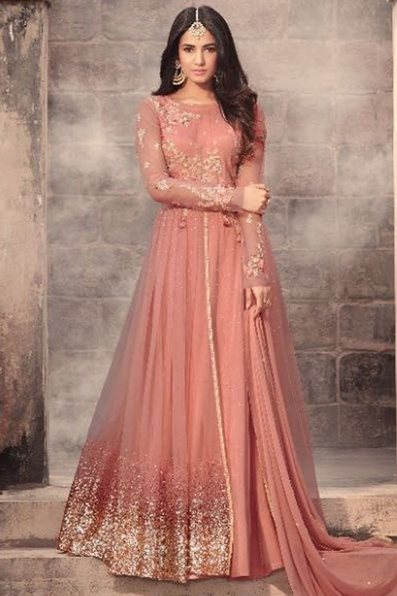 7227f47f7 Peach Color Beautiful Embroidery Work Attractive Net Fabric Party Wear  Indian Occasionally Fashion Celebrity Style Traditional Bollywood Fashion  Sonal ...
