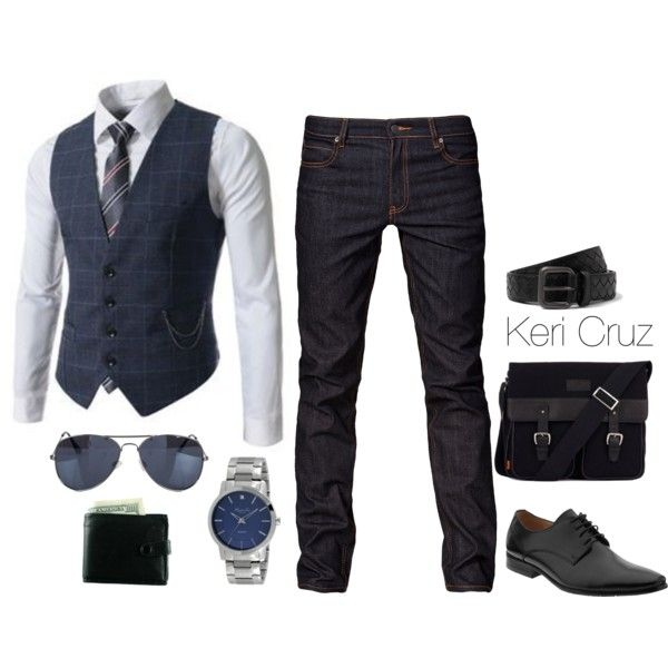 light blue oxford. navy window pane vest. navy/white striped tie. dark jeans. black belt/brogues/messenger bag. shades. watch. excellent interview attire. simple. sophisticated style.