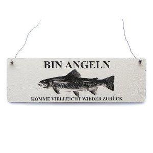 Shabby Vintage Schild Türschild Dekoschild BIN ANGELN Holzschild Landhaus Impression: Amazon.de: Küche & Haushalt