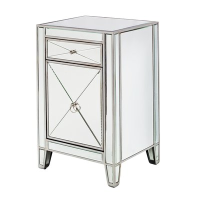 Design Tree Home 1 Drawer Nightstand Nightstand Mirrored Furniture Mirror Bedside Cabinets
