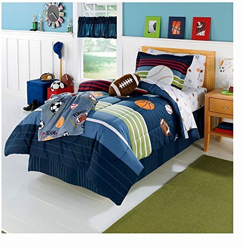 Best Amazon Com Mvp Sports Boys Baseball Basketball Football Twin Comforter Set 5 Piece Bed In A 640 x 480