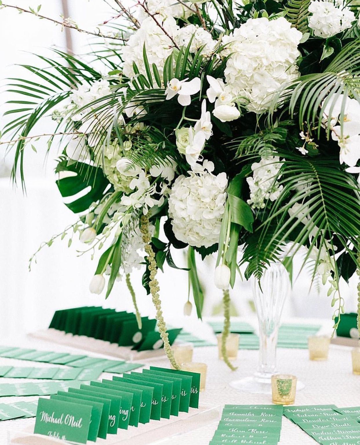 Large Centerpiece With White Hydrangeas And Palms Palm Wedding Decor Palm Wedding Centerpieces Tropical Wedding Centerpieces